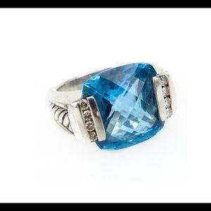 David Yurman Hampton blue topaz with diamonds ring